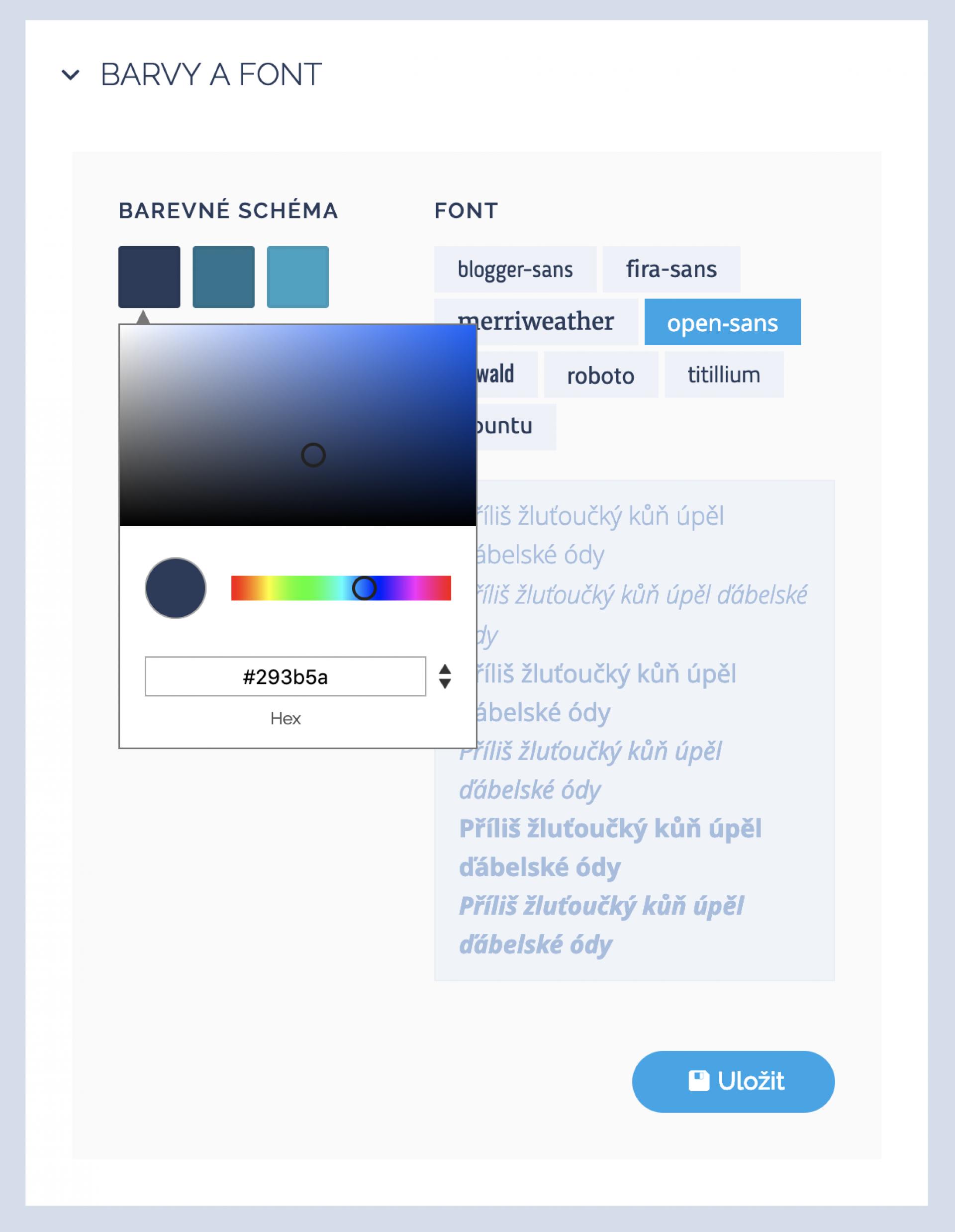 Nastavení barev a fontu na webu
